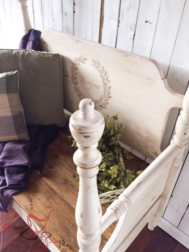Repurposed Headboard Bench- French Bench- Furniture Stenciling (8 of 11)