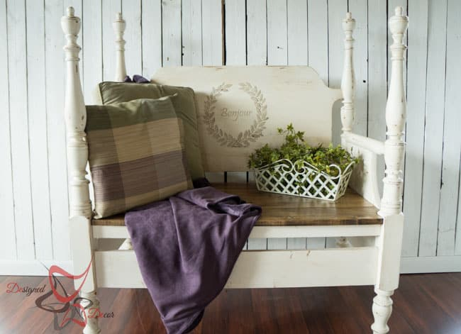 Repurposed Headboard Bench- French Bench- Furniture Stenciling (8 of 8)