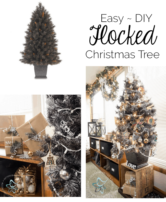 Easy DIY Flocked Christmas Tree and Wreath ~- Designed Decor