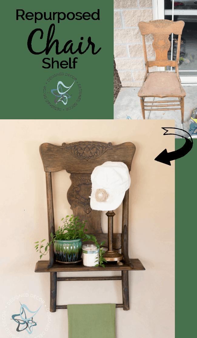 Repurposed Chair Shelf- Designed Decor