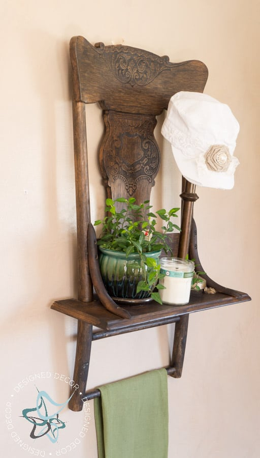 Repurposed Chair Shelf Designed Decor