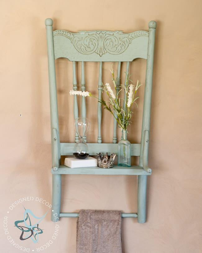 Repurposed Chair Shelf-Towel Holder--9