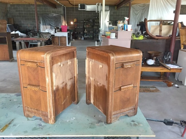 waterfall nightstands-during reconstruction