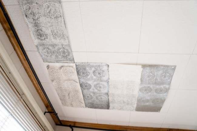 Faux tin tile samples