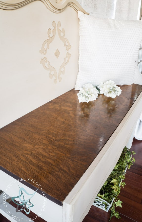 image of a repurposed headboard bench