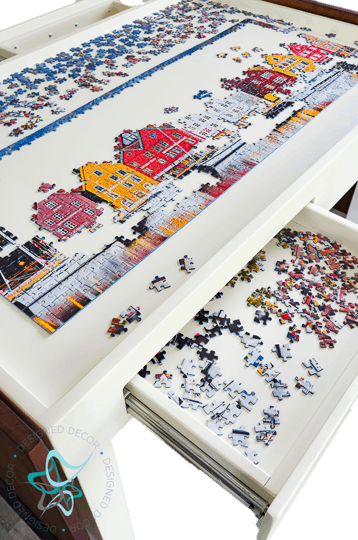 view of jigsaw puzzle table recessed workspace