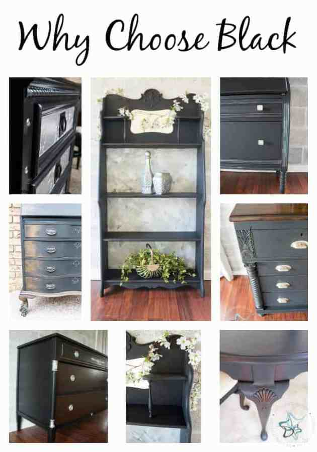 Image of different furniture pieces painted with black furniture paint