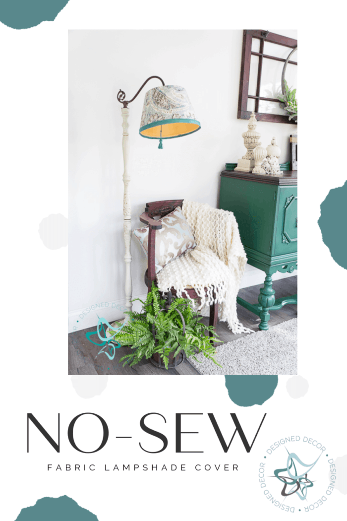No-Sew Fabric Lampshade cover. The easy way to update an old lampshade using fabric and glue.