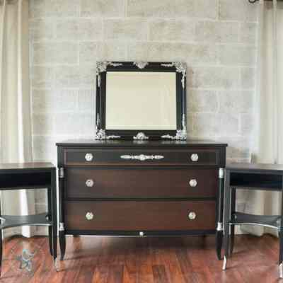 The Perfect amount of Silver Leaf to Update a Neoclassical Dresser