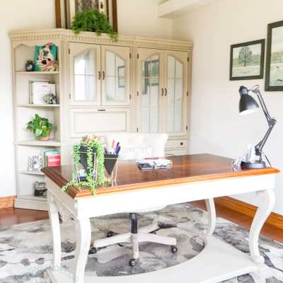 Easily add Beauty to an Office with a Painted Desk Makeover