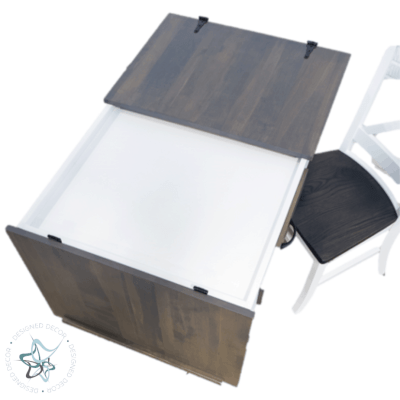 Desk height jigsaw puzzle table White paint-Smoke stain split top opening