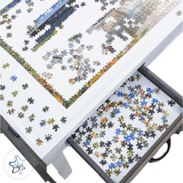 over view of open jigsaw puzzle table