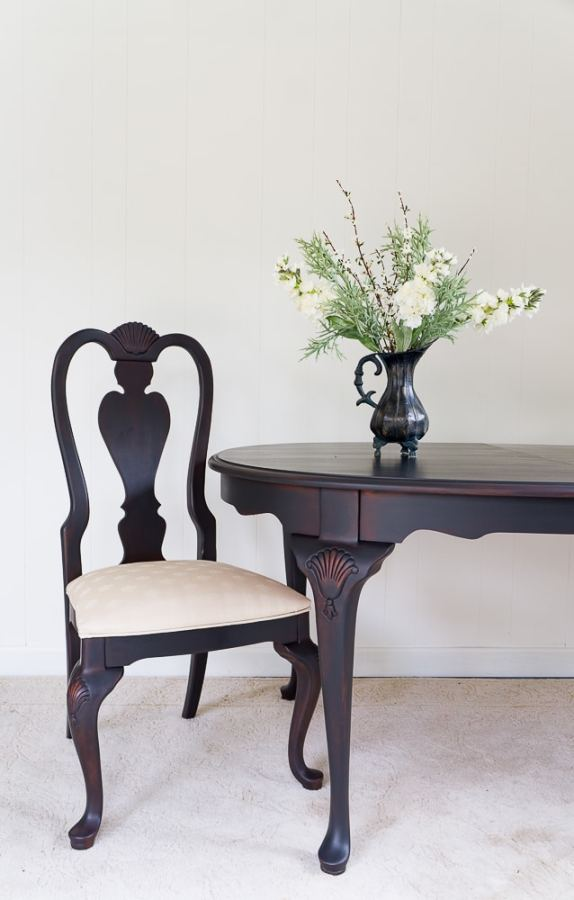 Queen Ann Style Table and Chairs painted in black