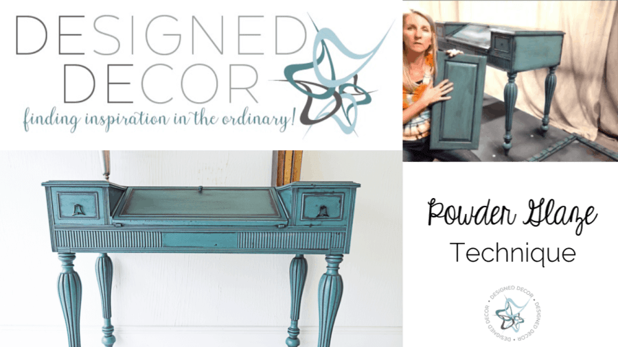 powder glaze technique graphic image of a painted desk and cabinet door