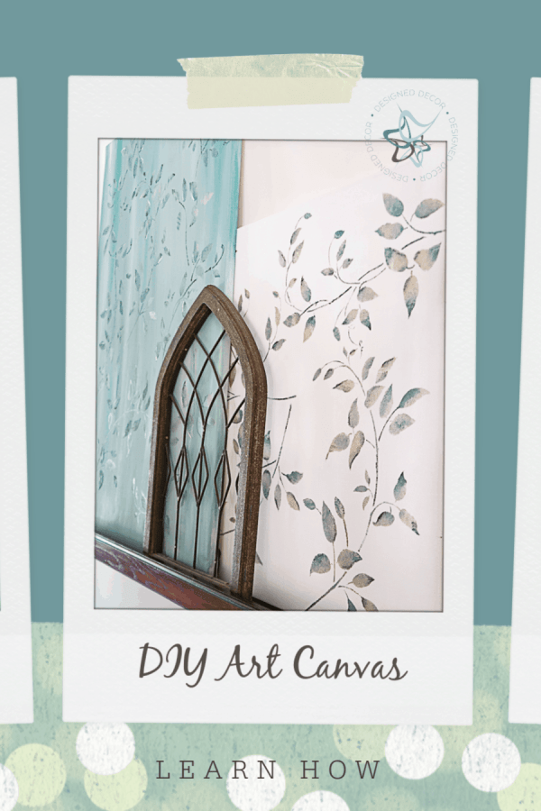 DIY art canvas and painted canvas with leaf design