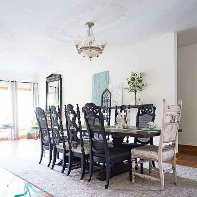 Revealing our transitional thrifted dining room makeover.
