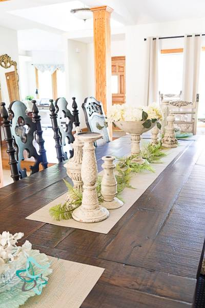 decorated dining room table makeover