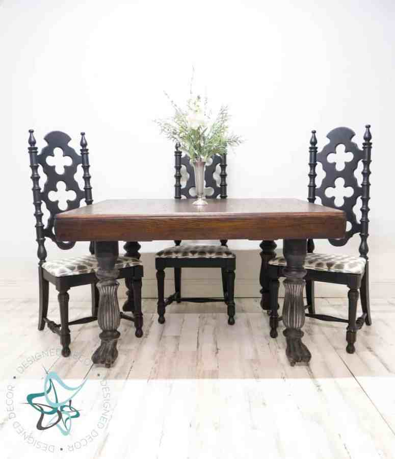 after picture of an antique table makeover