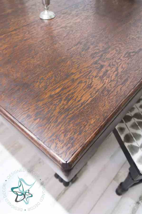 oak antique table after staining the tabletop
