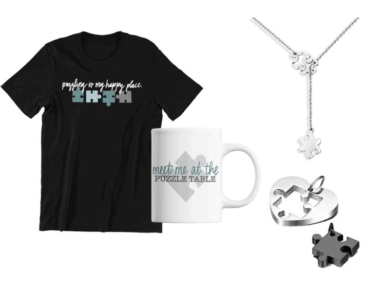 image of jigsaw puzzle lover t-shirt and mug