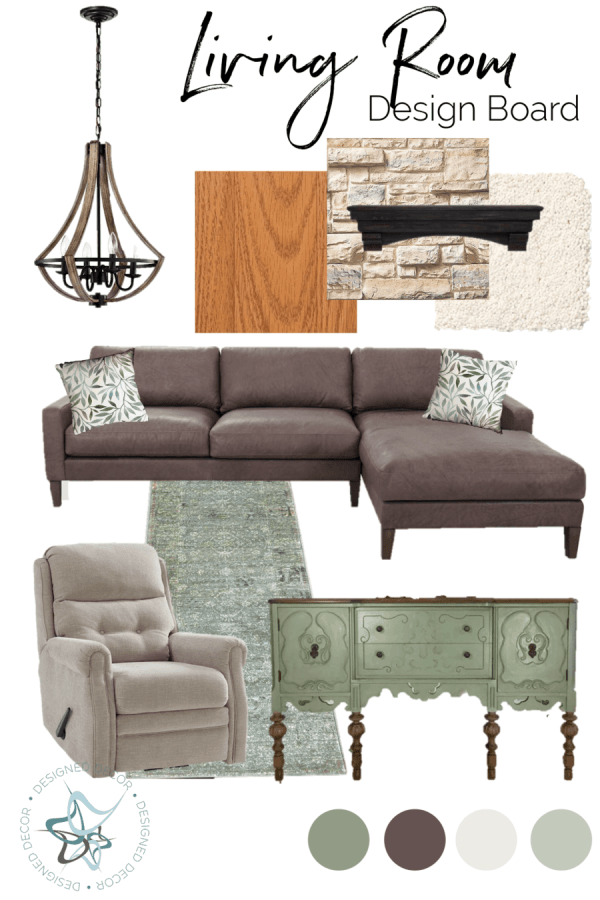 A graphic design of a Living room design board with home decor items placed together