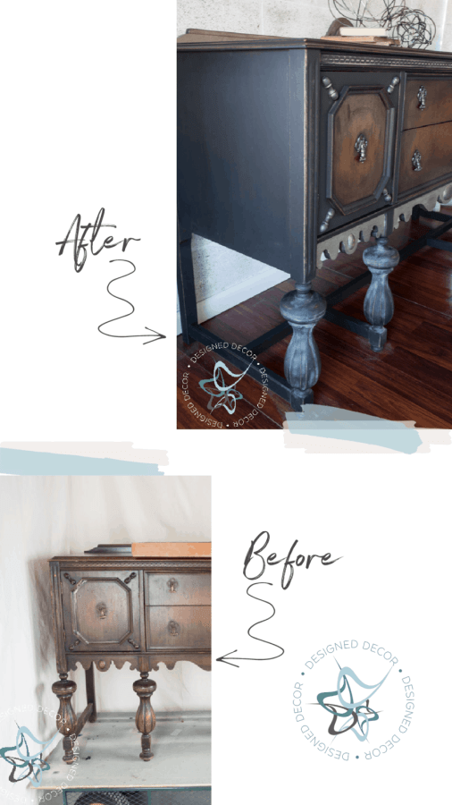 image of a before and after of a buffet  using gel stain on furniture and paint