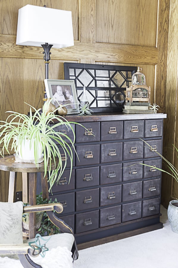 image of an antique apothecary cabinet with the repurposed china cabinet door on display with other decorative accessories