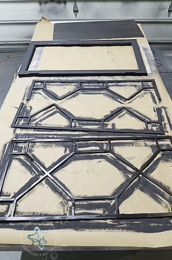 spray painting the veneers glass door insets