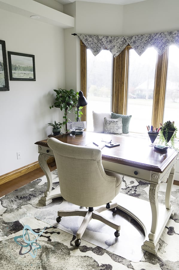 image of a home office with painted outlet covers