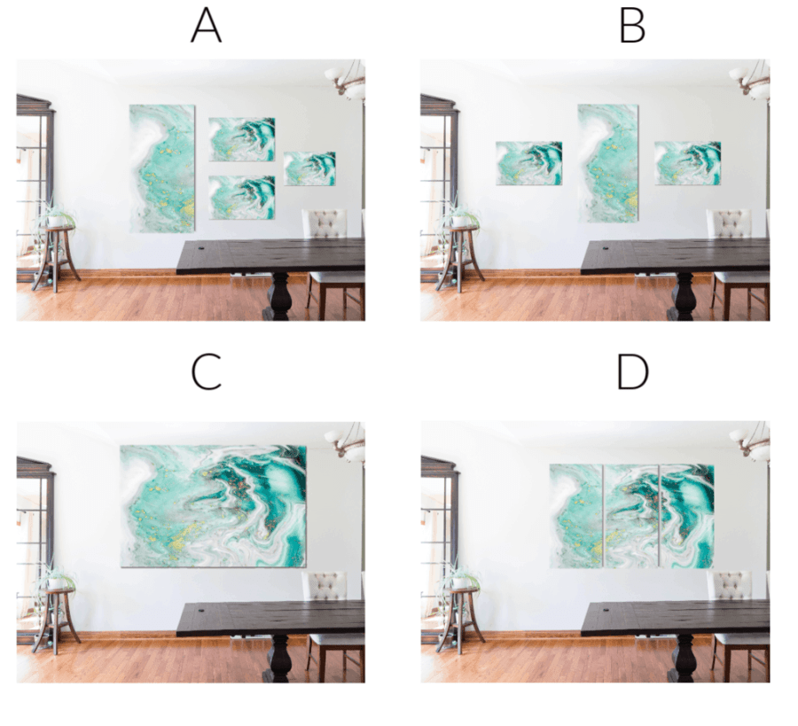 image of 4 different ways to hang large wall art to improve your home decorating
