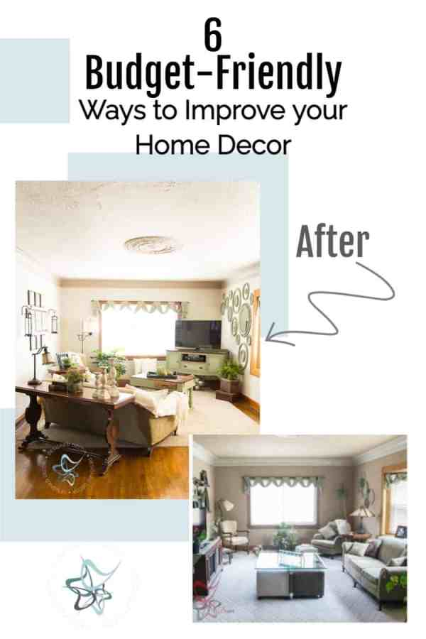 image of a room makeover using budget friendly ways to improve your home decor
