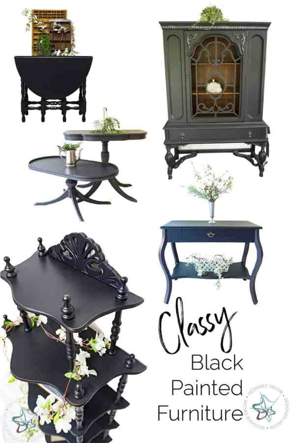 graphic of black painted furniture