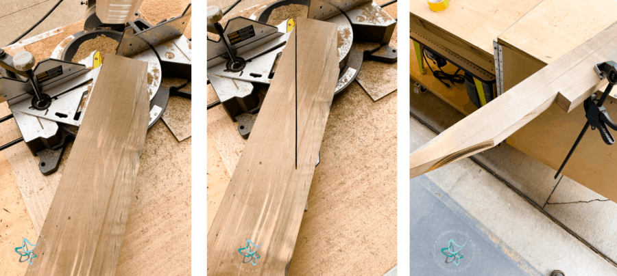 close up image of cutting wood leg supports for a diy outdoor sectional sofa