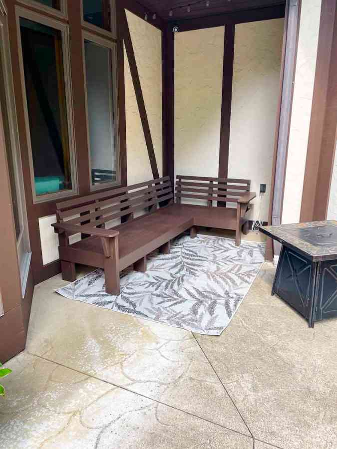 image of a painted diy outdoor sectional sofa without the cushions