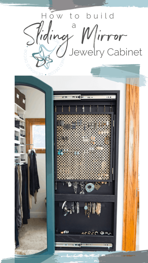 Image of a sliding mirror jewelry cabinet with the mirror opened and showing the hidden jewelry storage