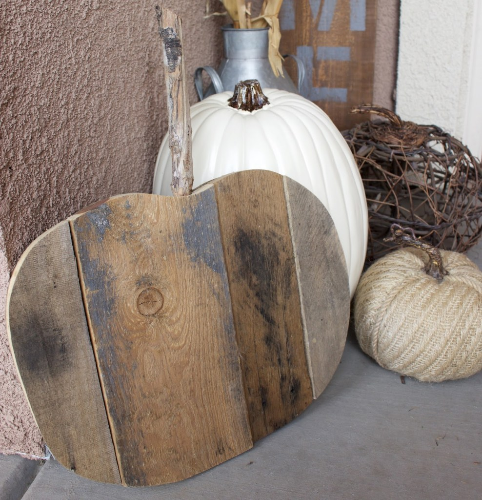 Fall Porch - neutral fall decor with white pumpkins & corn stalks!