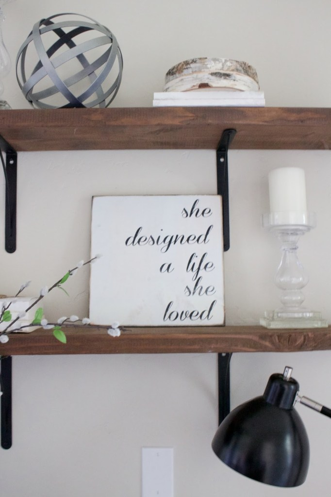 Simple shelving decor, decorate with what you have in your home already - shop the house!