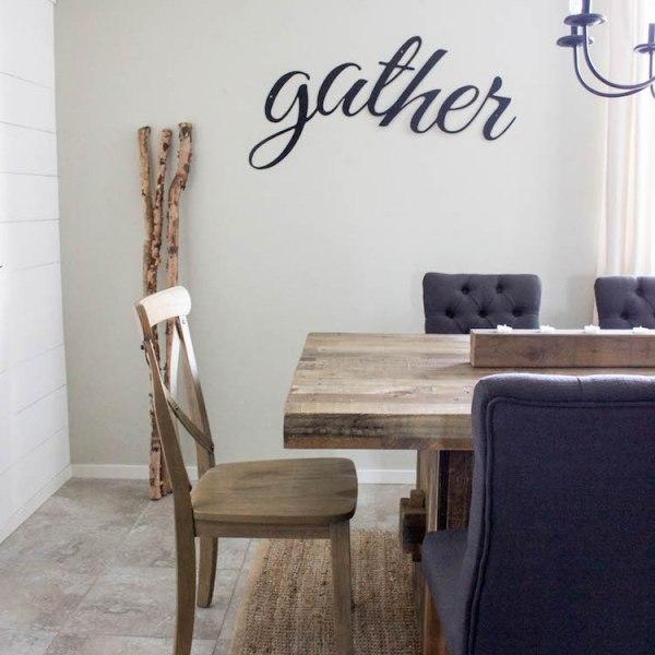 Simple Fall Decor and Gather sign | designedsimple.com