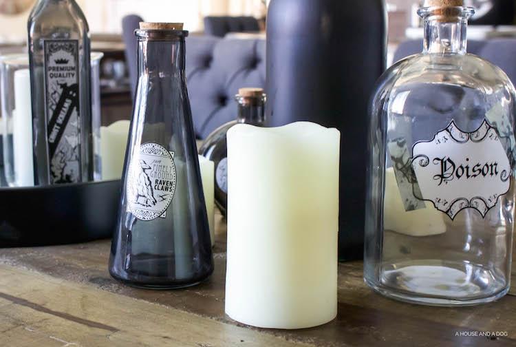 DIY Halloween Apothecary Jars and Tablescape | designedsimple.com