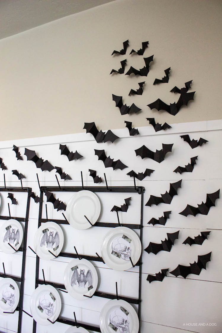 Halloween Dining Room & Bat Wall DIY | designedsimple.com