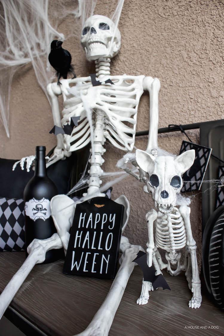 Simple & Spooky Halloween Porch - Skeletons & Bats | designedsimple.com