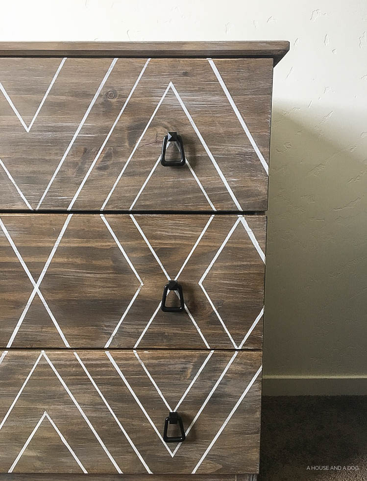DIY Ikea Hack - Modern Graphic Tarva Dresser | One Room Challenge | designedsimple.com