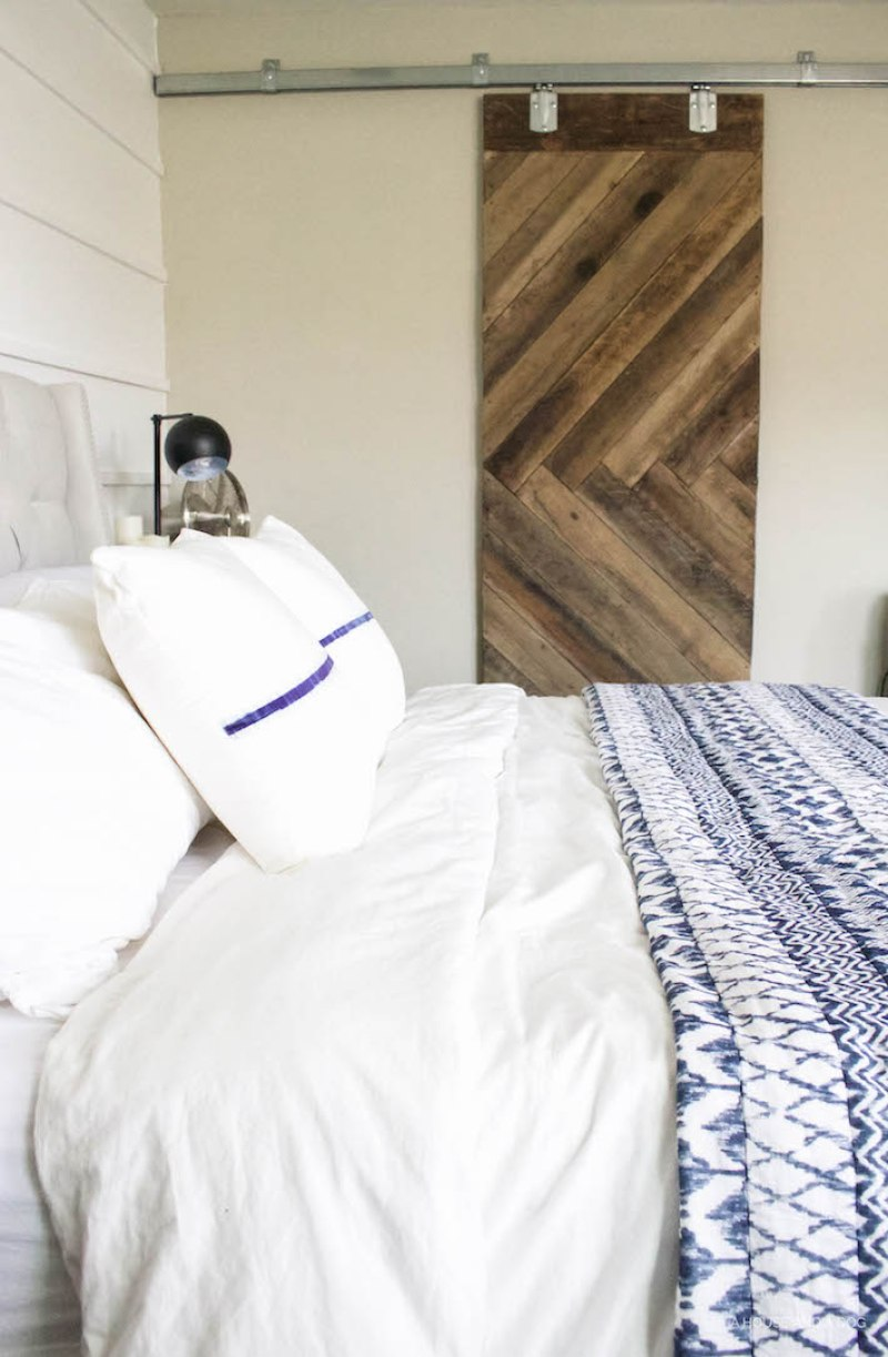 Blue & White Bedroom - DIY Horizontal Board & Batten Wall, DIY Painted Headboard & Bench, DIY Ikea Tarva Hack | One Room Challenge | designedsimple.com