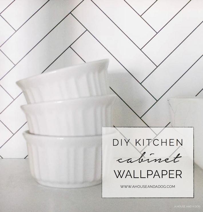 Kitchen Cabinet Wallpaper & Upgrading Builder Cabinets | designedsimple.com
