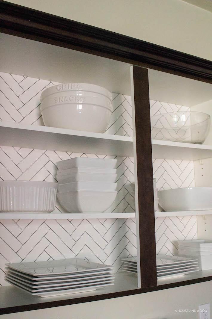 Kitchen Cabinet Wallpaper & Upgrading Builder Cabinets   designedsimple.com