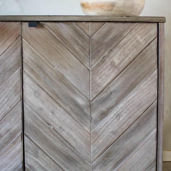 Chevron Media Cabinet | Living Room Makeover | designedsimple.com