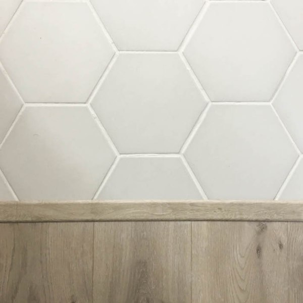 One Room Challenge - Master Bathroom - Gray Hex Tile