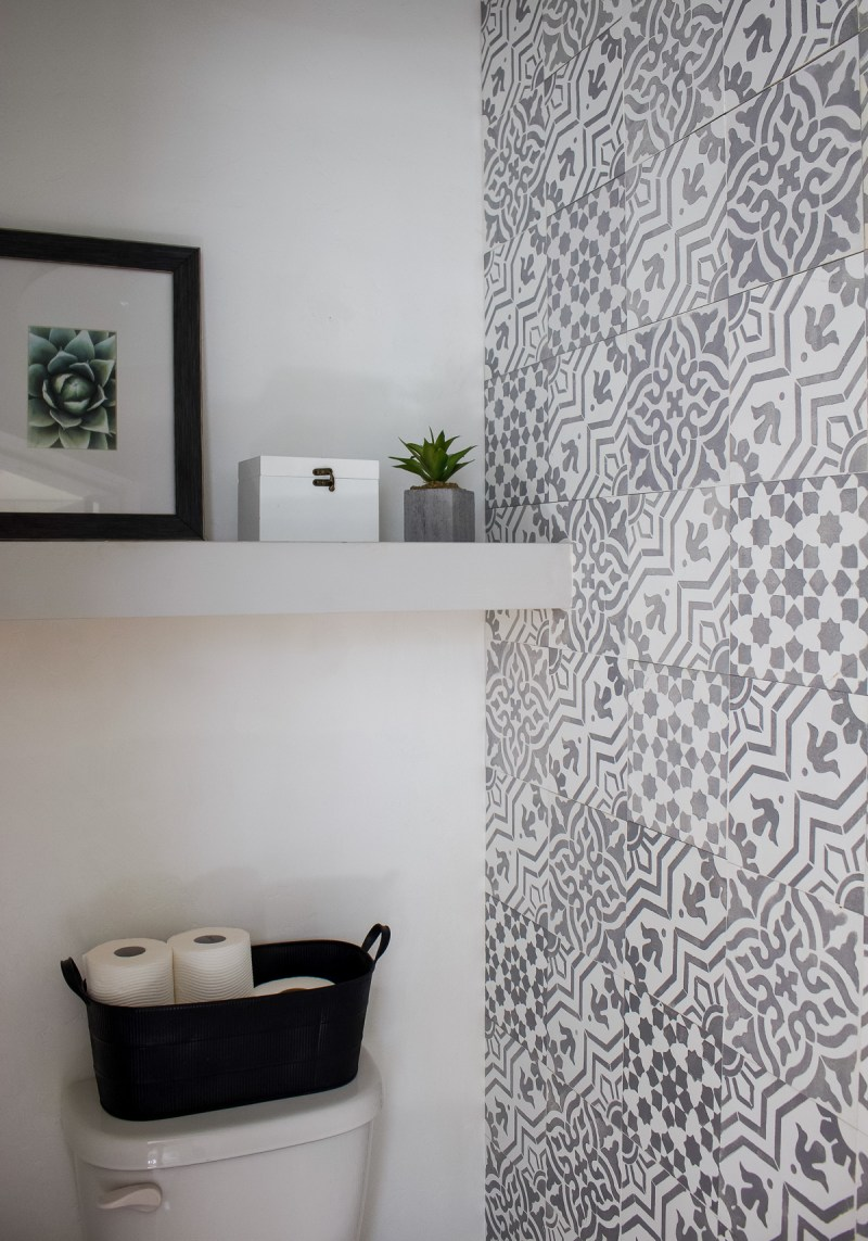 DIY Faux Cement Tiles | Get the look for less and without the commitment of real tiles! | Designed Simple | designedsimple.com