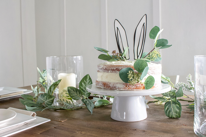 Easter tablescape + simple naked cake with bunny ears! | designedsimple.com