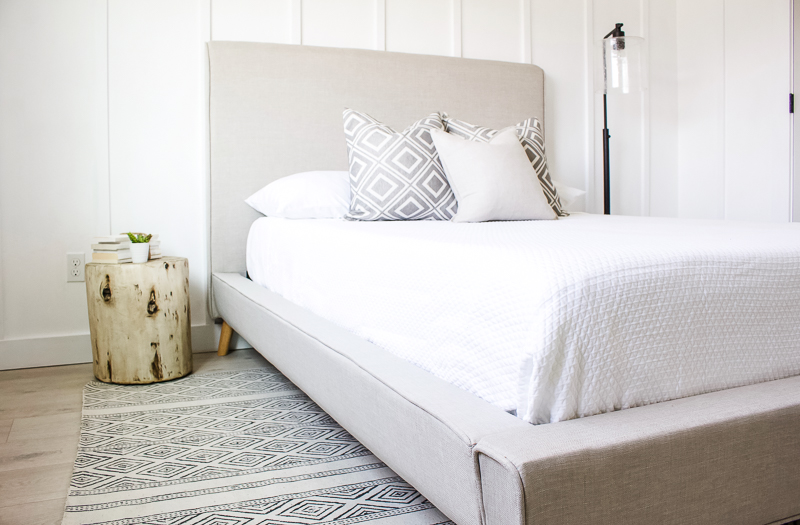 Simple and Neutral Guest Bedroom | Board and batten, modern platform bed, black accents, graphic rug and art prints! | Designed Simple | designedsimple.com